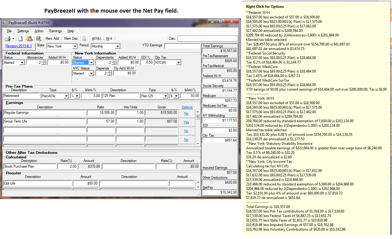 PayBreeze, Paycheck calculator, W4, 401(k), Payroll Taxes, paycheck ...